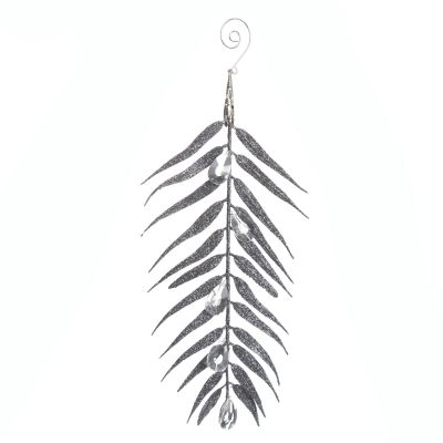 Silver Glitter Fern and Crystal Tree Decoration