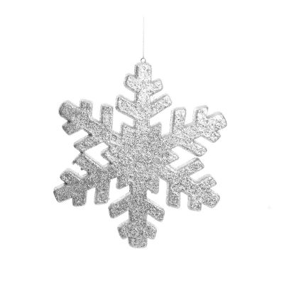Silver Glitter Hanging Snowflake - Small