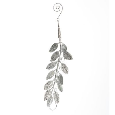 Silver Glitter Leaf and Crystals Tree Decoration