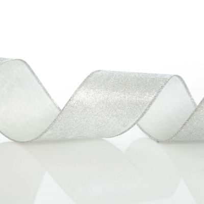 Silver Glitter Wired Christmas RIbbon - 6.5cm