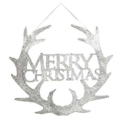 Silver Hanging Merry Christmas Sign with Antlers
