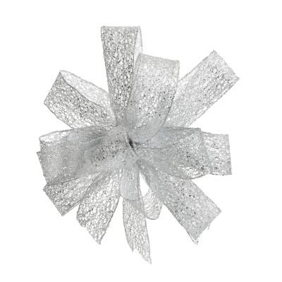 SIlver Mesh Wired Ribbon Tree Topper Bow