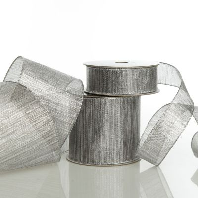 Silver Metallic Shimmer Wired Ribbon