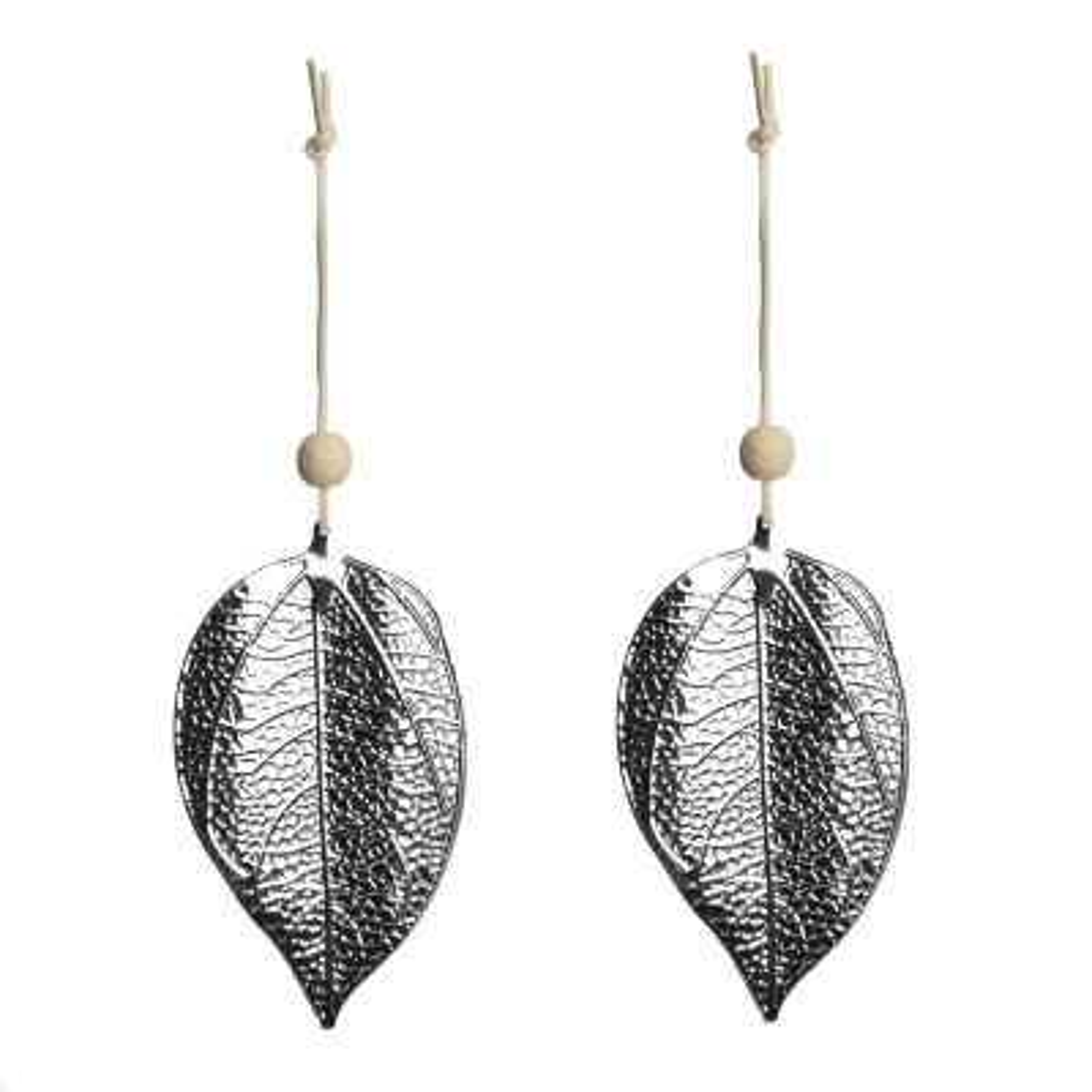 Silver Pressed Metal Hanging Leaf Christmas Decoration - Set of 2