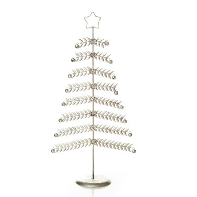 Large Antique Silver Metal Christmas Tree