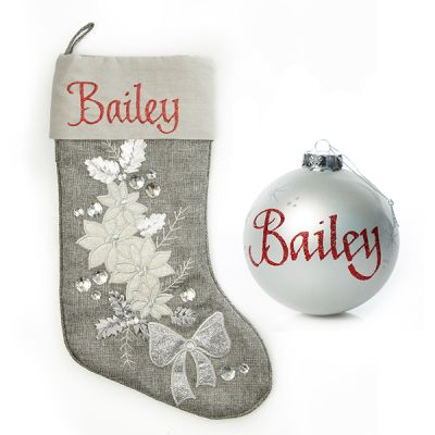 Silver Poinsettia Stocking And Bauble Pack