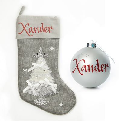 Silver Tree Stocking And Bauble Pack