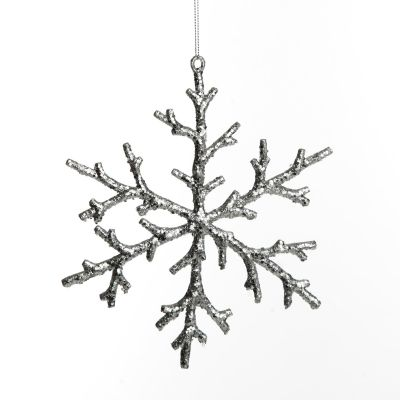 Silver Wire Tinsel Sparkling Snowflake Decoration