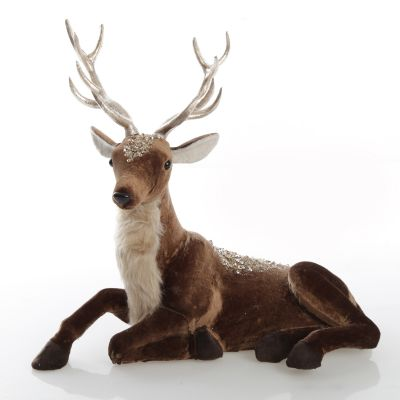 Sitting Velvet Chocolate Deer with Fur and Jewels