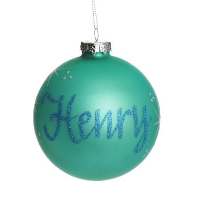 Sky Blue Glass Personalised Christmas Bauble