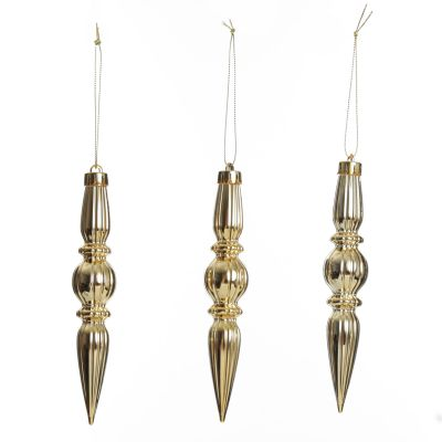 Small Champagne Christmas Drop Decoration - Set of 3
