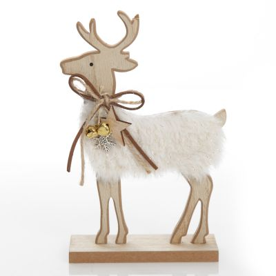 Wood Reindeer with Fur Christmas Ornament and Neck Tie