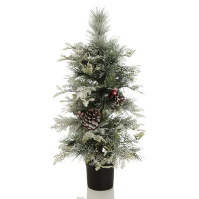 Snowtipped Mixed Leaf Pine Tree in Pot with Lights - Whole product