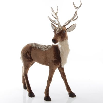 Standing Velvet Chocolate Deer with Fur and Jewels