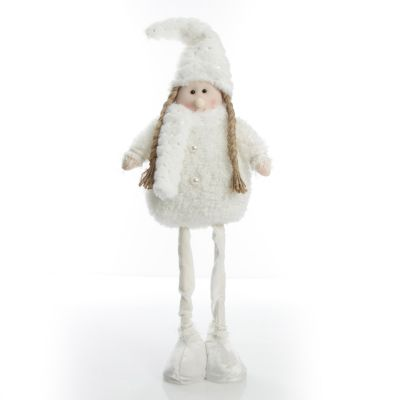 Standing White Girl Ornament with Beanie and Scarf