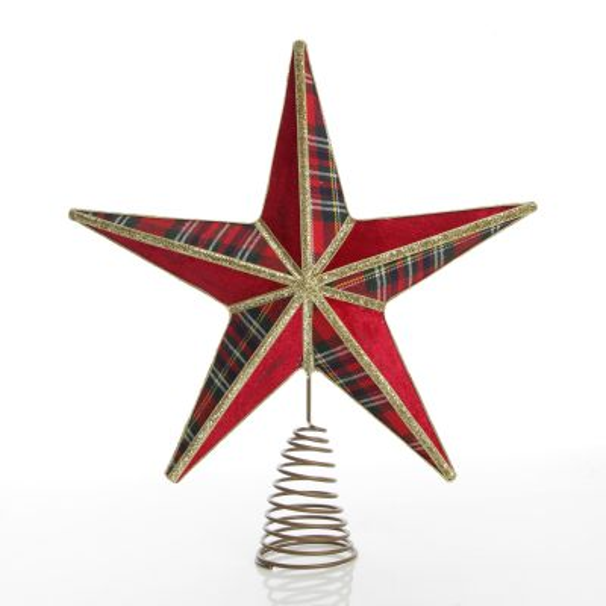 Tartan and Gold Trim 3D Star Christmas Tree Topper
