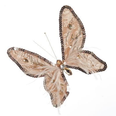 Taupe Sequin and Jewel Butterfly Clip