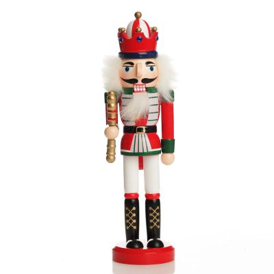 Traditional Christmas Wooden Nutcracker Soldier Ornament with Baton - Medium