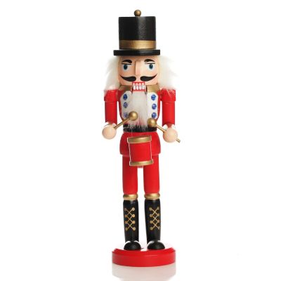 Traditional Christmas Wooden Nutcracker Soldier Ornament with Drums - Medium