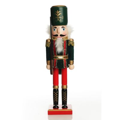 Traditional Christmas Wooden Nutcracker Soldier Ornament with Rifle - Large