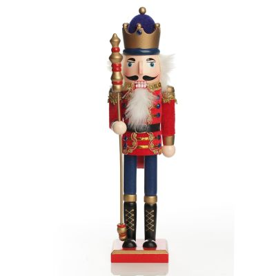 Traditional Christmas Wooden Nutcracker Soldier Ornament with Staff - Large