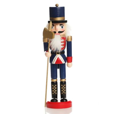Traditional Christmas Wooden Nutcracker Soldier Ornament with Axe - Medium