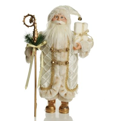 Ivory and Gold Standing Santa Christmas Ornament
