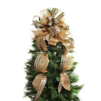 Traditional Tartan Deluxe Tree Topper Bow with Streamers