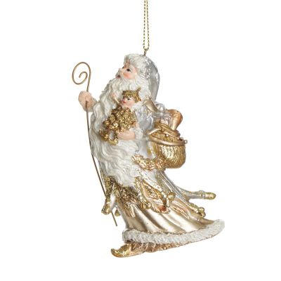 Traditional White and Gold Santa Hanging Tree Decoration Whole product