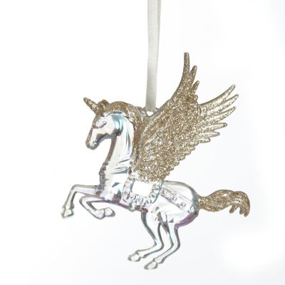 Unicorn Tree Decoration with Champagne Glitter Wings