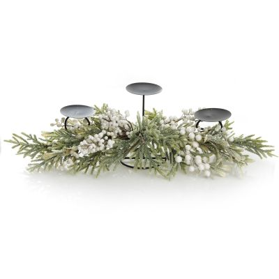 White Berry and Frosted Leaf Christmas Table Centrepiece Candle Holder