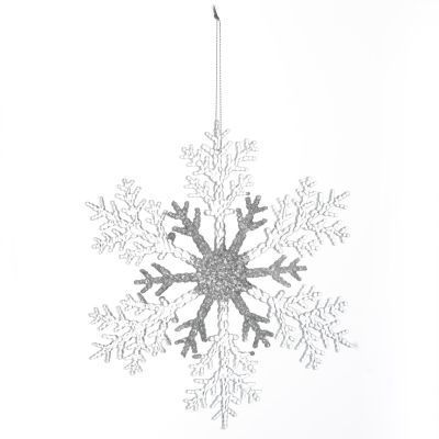 White and Silver Glitter Snowflake Tree Decoration