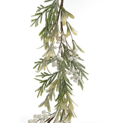 White Berry and Frosted Leaf Christmas Garland