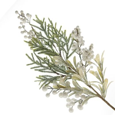 White Berry and Frosted Leaf Christmas Spray