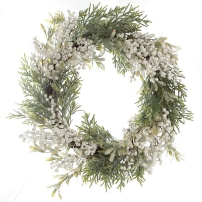 White Berry and Frosted Leaf Christmas Wreath