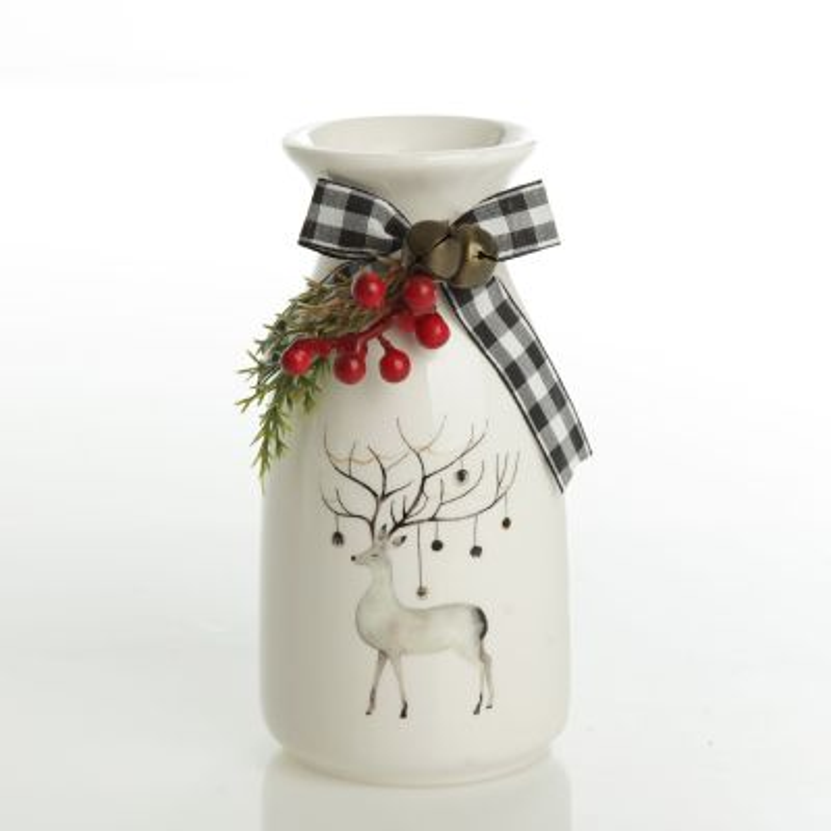 White Ceramic Milk bottle Vase with Berries - Reindeer
