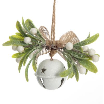 White Christmas Bell with Frosted Berries and Leaves Tree Decoration