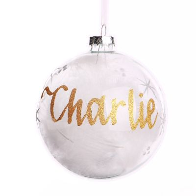 White Feather Glass Personalised Christmas Bauble