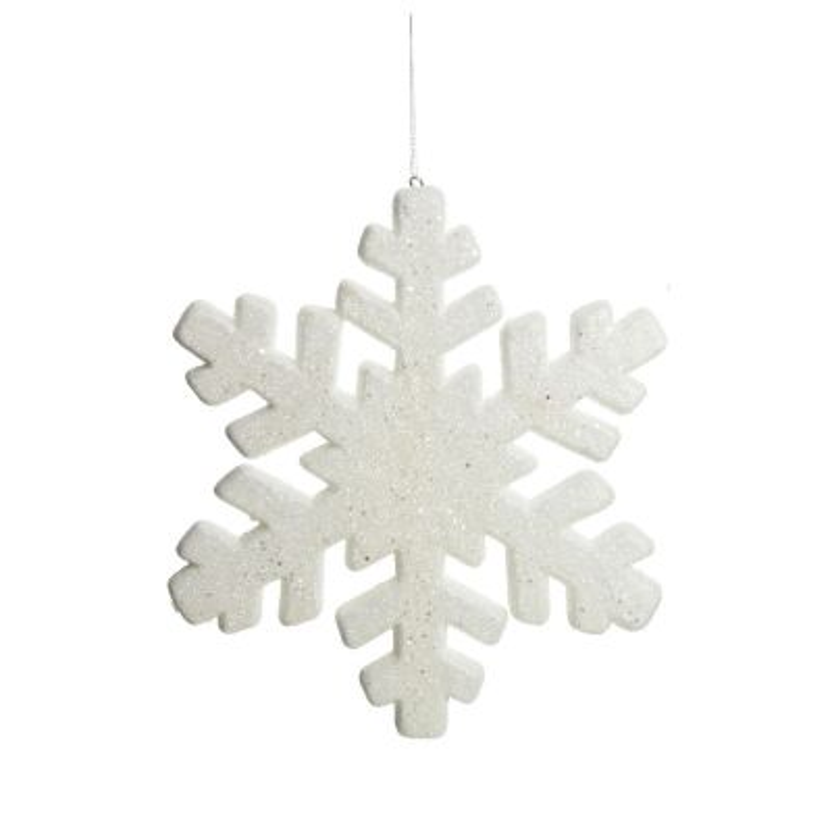 White Glitter Hanging Snowflake - Small
