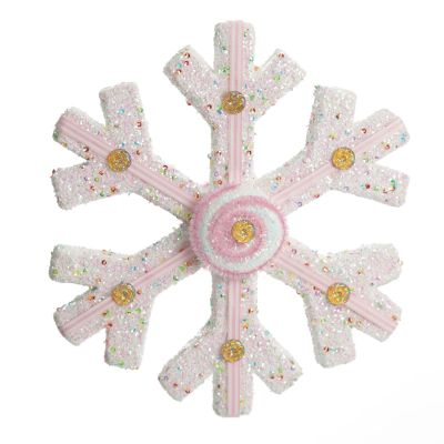 White Glitter Snowflake with Pink Frosting and Sprinkles