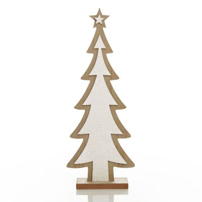 White Glitter Wooden Table Top Christmas Tree