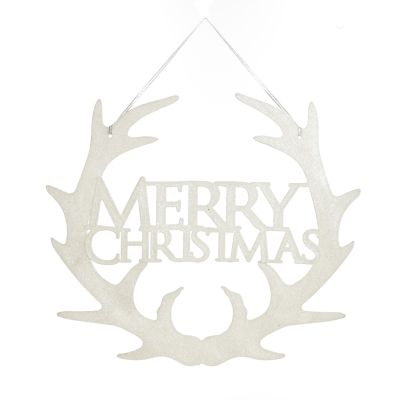 White Hanging Merry Christmas Sign with Antlers