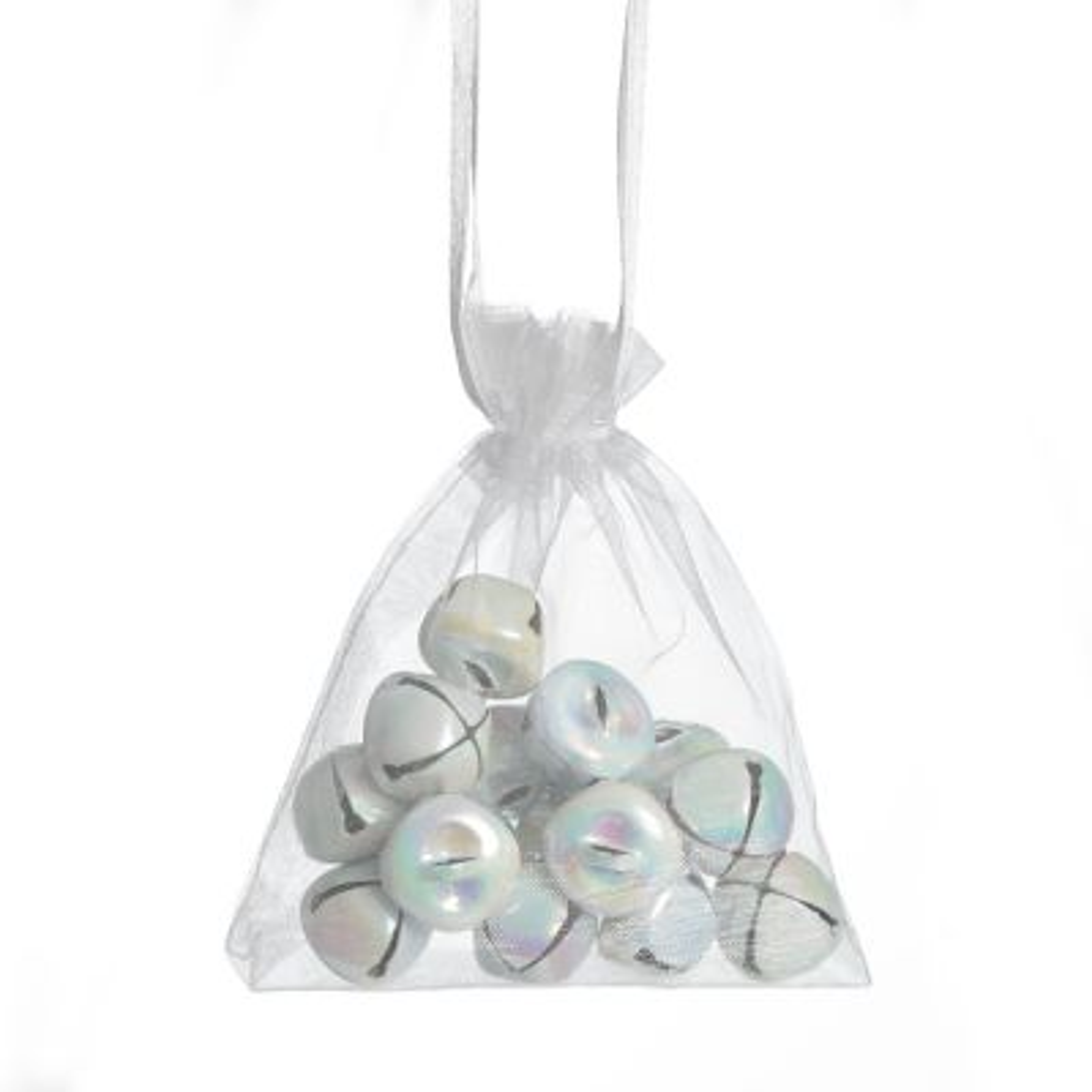 White Iridescent Mini Jingle Bell Decorations - Bag of 15