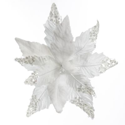 White Poinsettia Flower Clip with Sequins and Fur