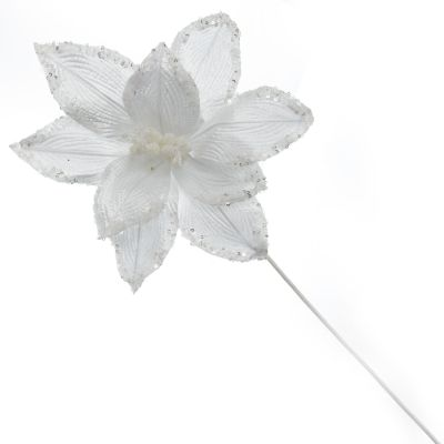 White Ribbed Flower Stem with Sequin Tips