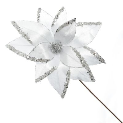 White Satin Flower Stem with Silver Sequin Tips