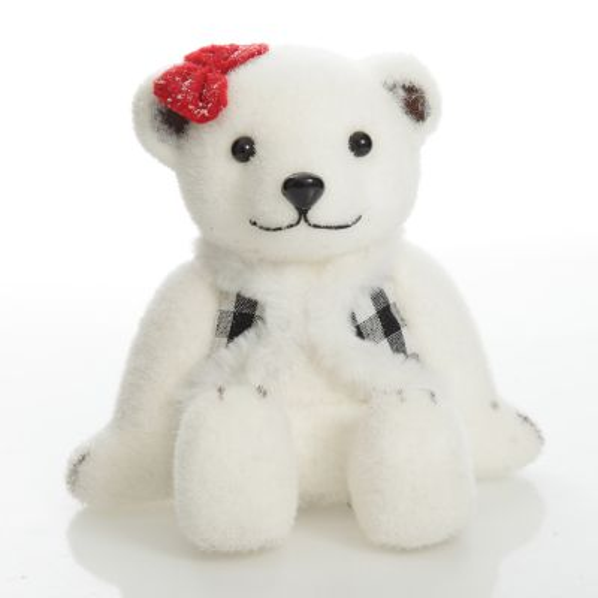 White Sisal Girl Polar Bear Cub Sitting with Red Bow