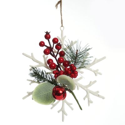 White Snowflake with Red Berries Tree Decoration