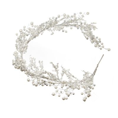 White Snowy Pearl and Bead Christmas Garland Whole product