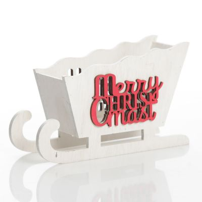 White Wooden Sleigh with Merry Christmas